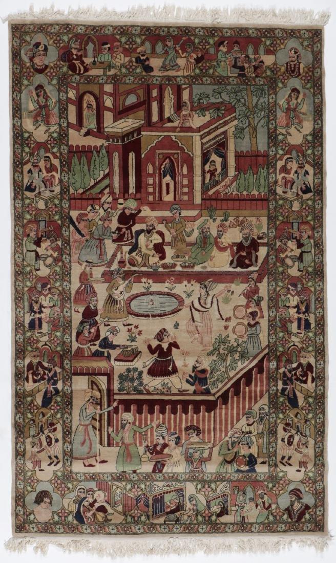 Vintage Tabriz Style Pictorial Rug, Paki: 4'7'' x 7'7''