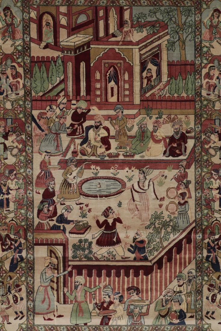 Vintage Tabriz Style Pictorial Rug, Paki: 4'7'' x 7'7'' - 2