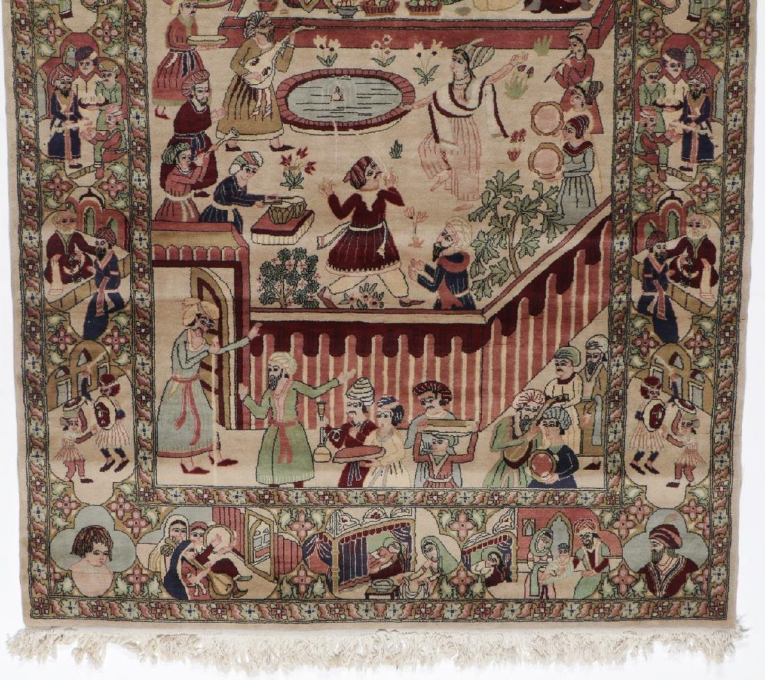 Vintage Tabriz Style Pictorial Rug, Paki: 4'7'' x 7'7'' - 5
