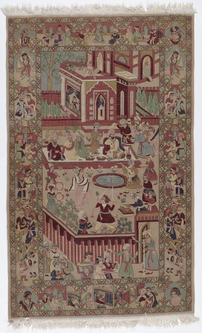 Vintage Tabriz Style Pictorial Rug, Paki: 4'7'' x 7'7'' - 7
