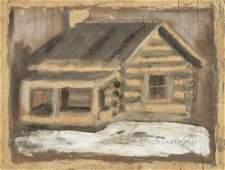 Jimmy Lee Sudduth (1910-2007) Log Cabin