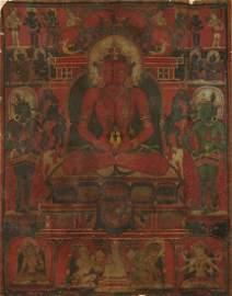 13th-14th C. Tibetan Thangka of Amitayus