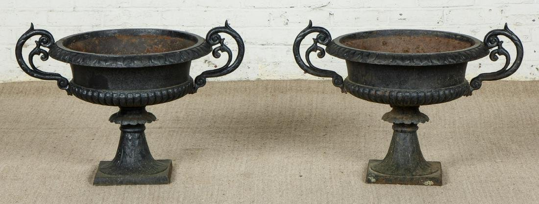 Pair of Victorian Cast Iron Garden Urns