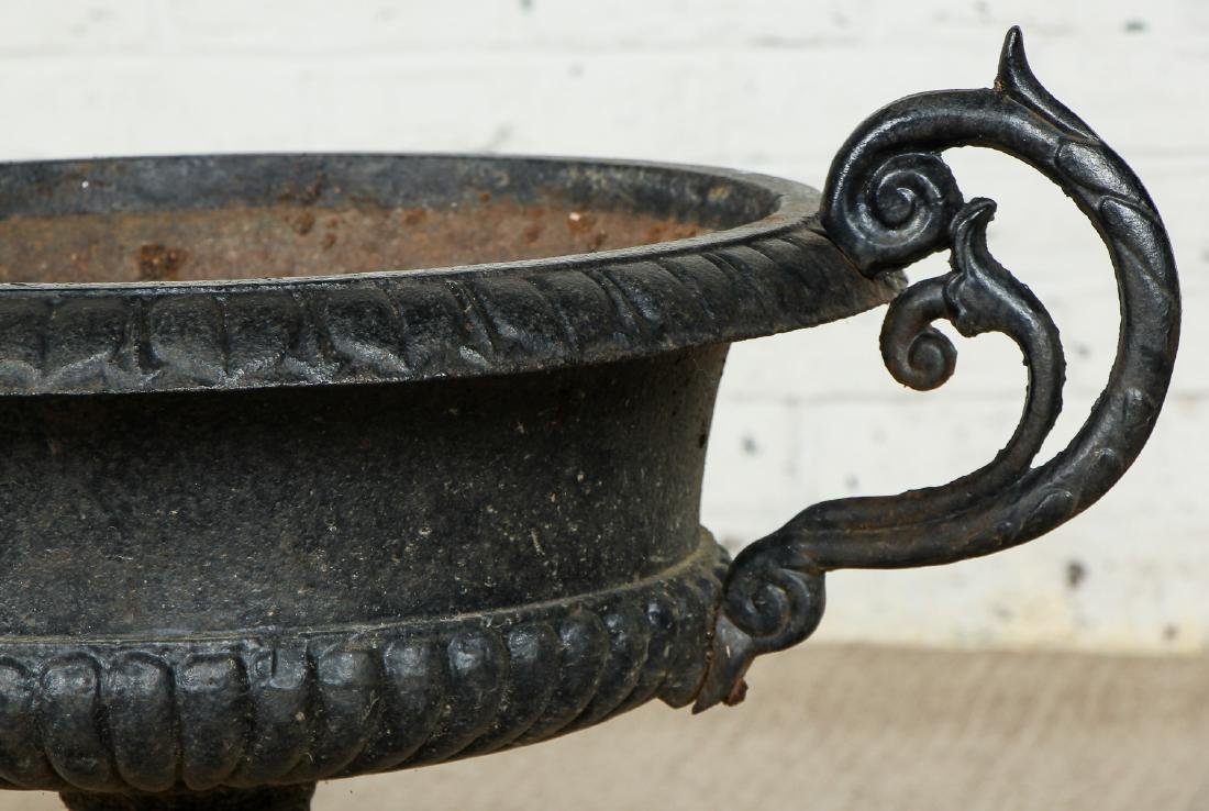 Pair of Victorian Cast Iron Garden Urns - 4