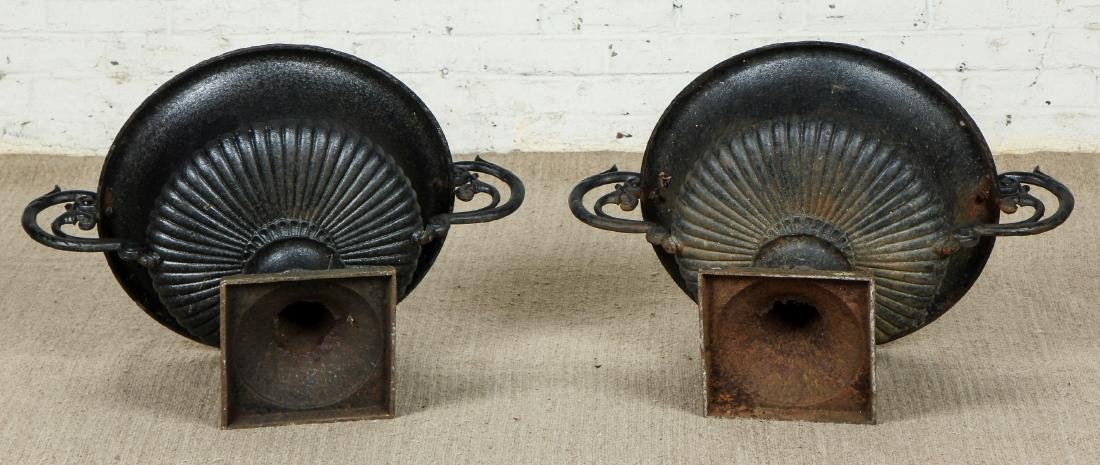 Pair of Victorian Cast Iron Garden Urns - 5