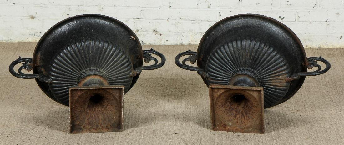 Pair of Victorian Cast Iron Garden Urns - 5