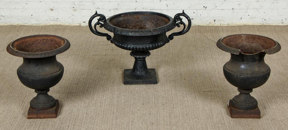 3 Victorian Cast Iron Garden Urns
