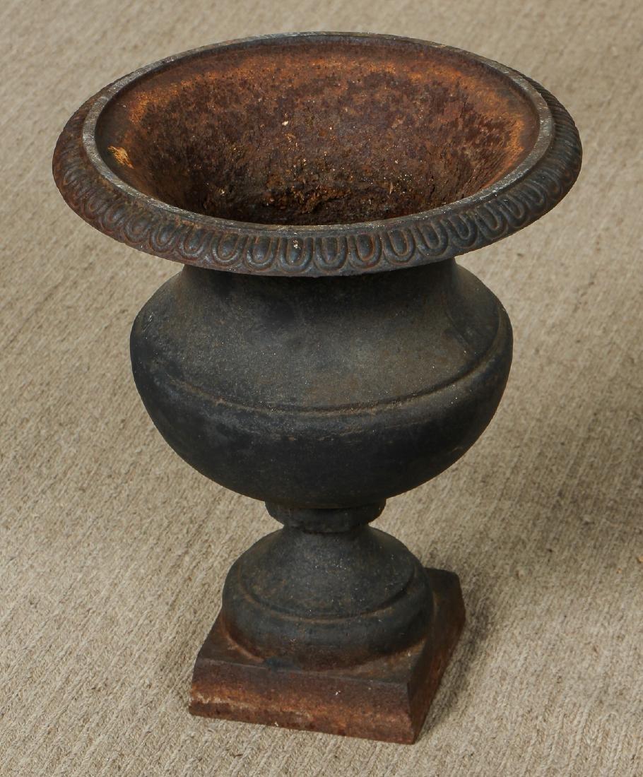 3 Victorian Cast Iron Garden Urns - 2