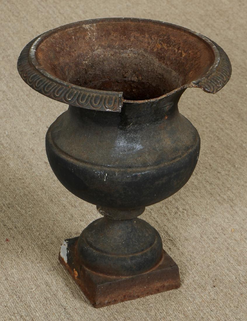 3 Victorian Cast Iron Garden Urns - 3