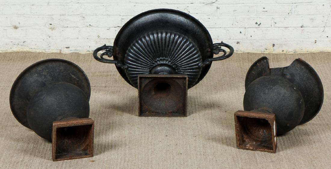 3 Victorian Cast Iron Garden Urns - 5