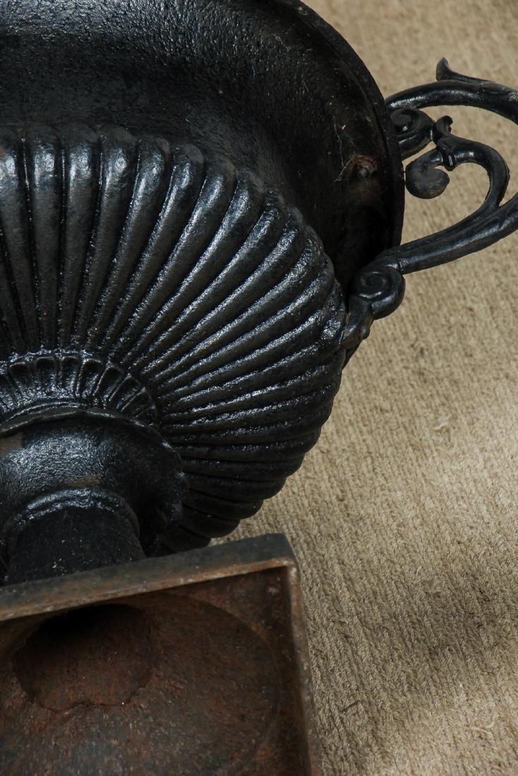 3 Victorian Cast Iron Garden Urns - 6