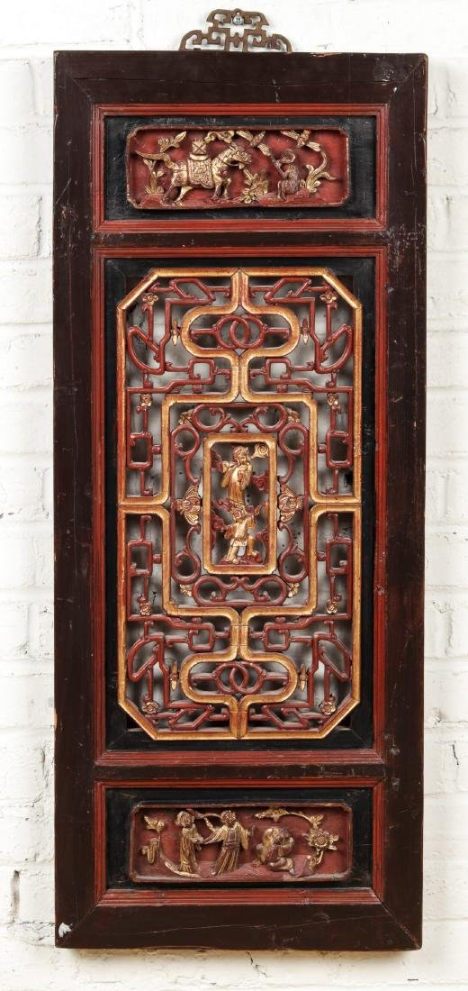 19th Century Chinese Carved Wood Panel