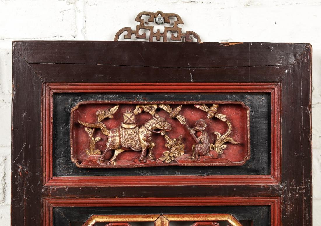 19th Century Chinese Carved Wood Panel - 2