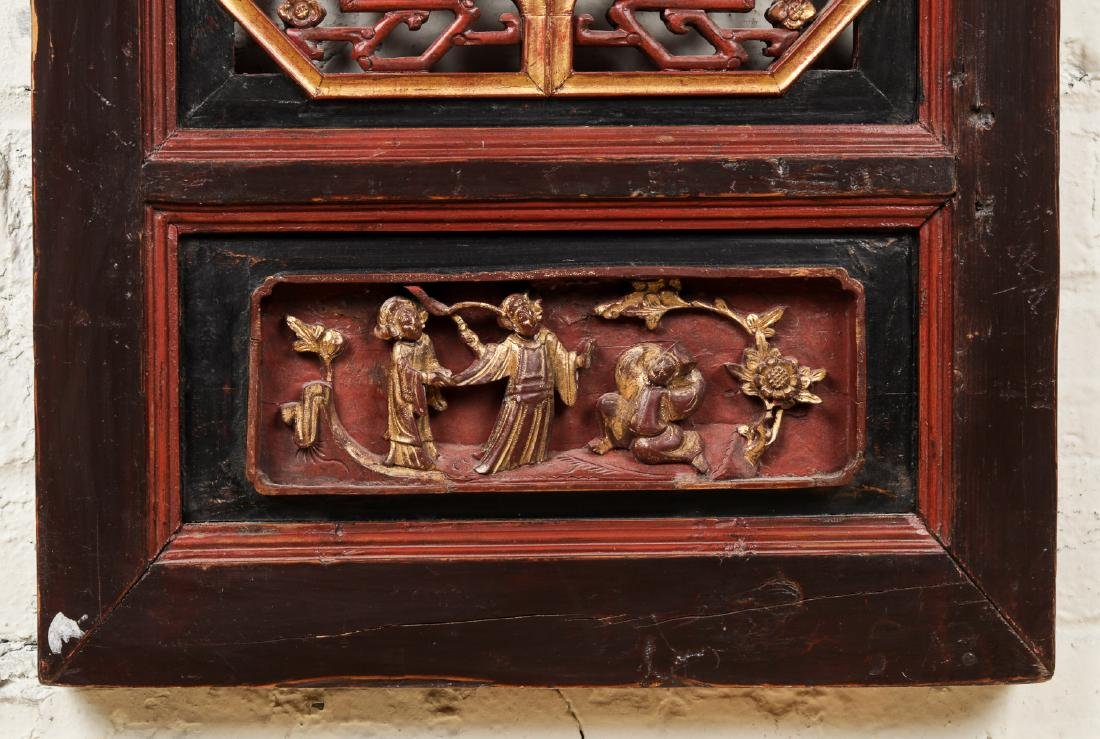 19th Century Chinese Carved Wood Panel - 3