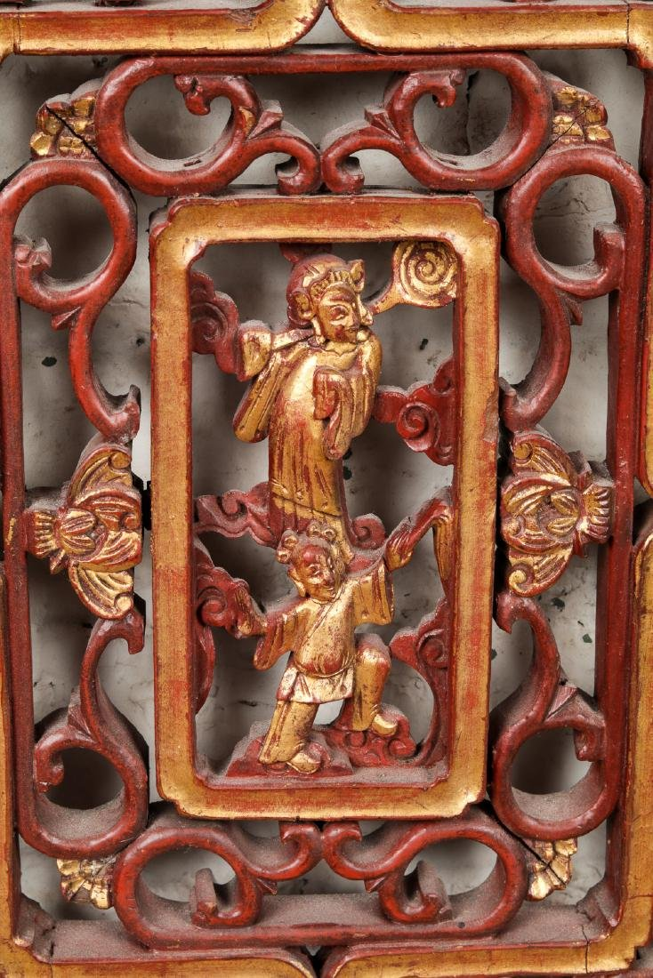 19th Century Chinese Carved Wood Panel - 4