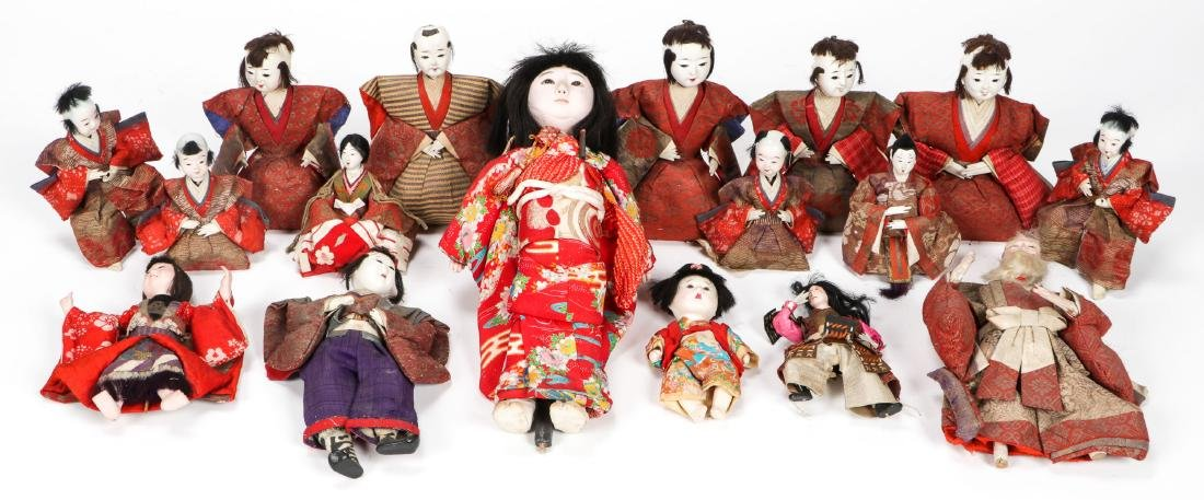 Collection of 17 Antique Geisha Dolls, Japan