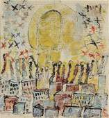 Purvis Young (1943-2010) Mixed Media Angel Painting