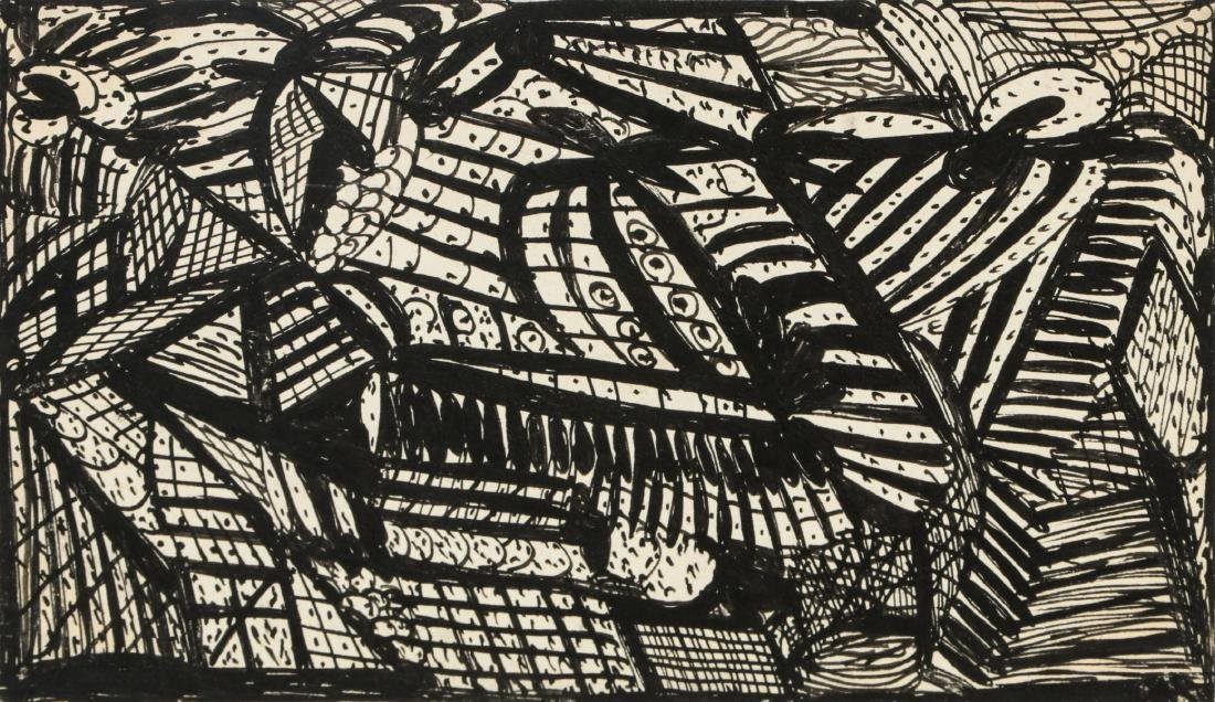 Madge Gill (British, 1882-1961) Abstract Ink Drawing