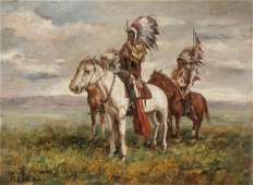 """Attributed to W. R. Leigh """"Indian Warriors"""", Oil"""