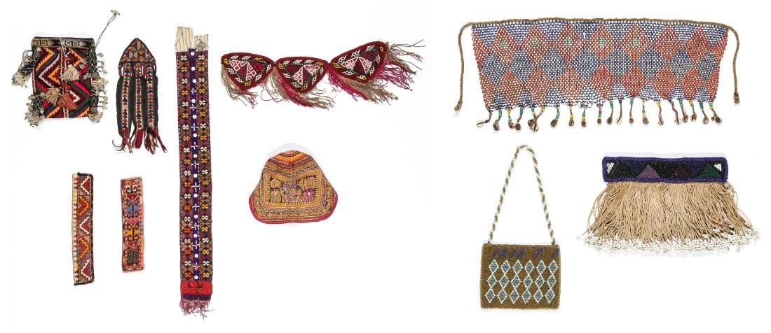 3 African Beaded Artifacts: 2 Cache Sexe & Purse