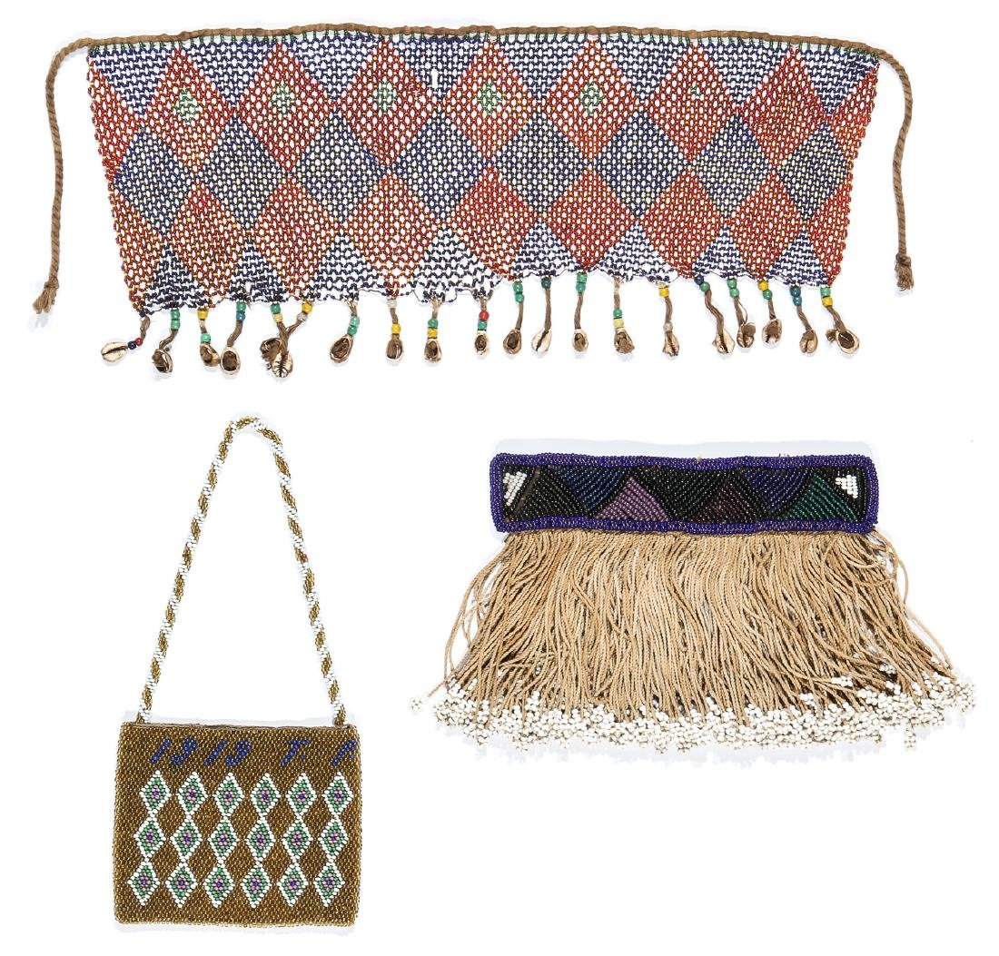 3 African Beaded Artifacts: 2 Cache Sexe & Purse - 2