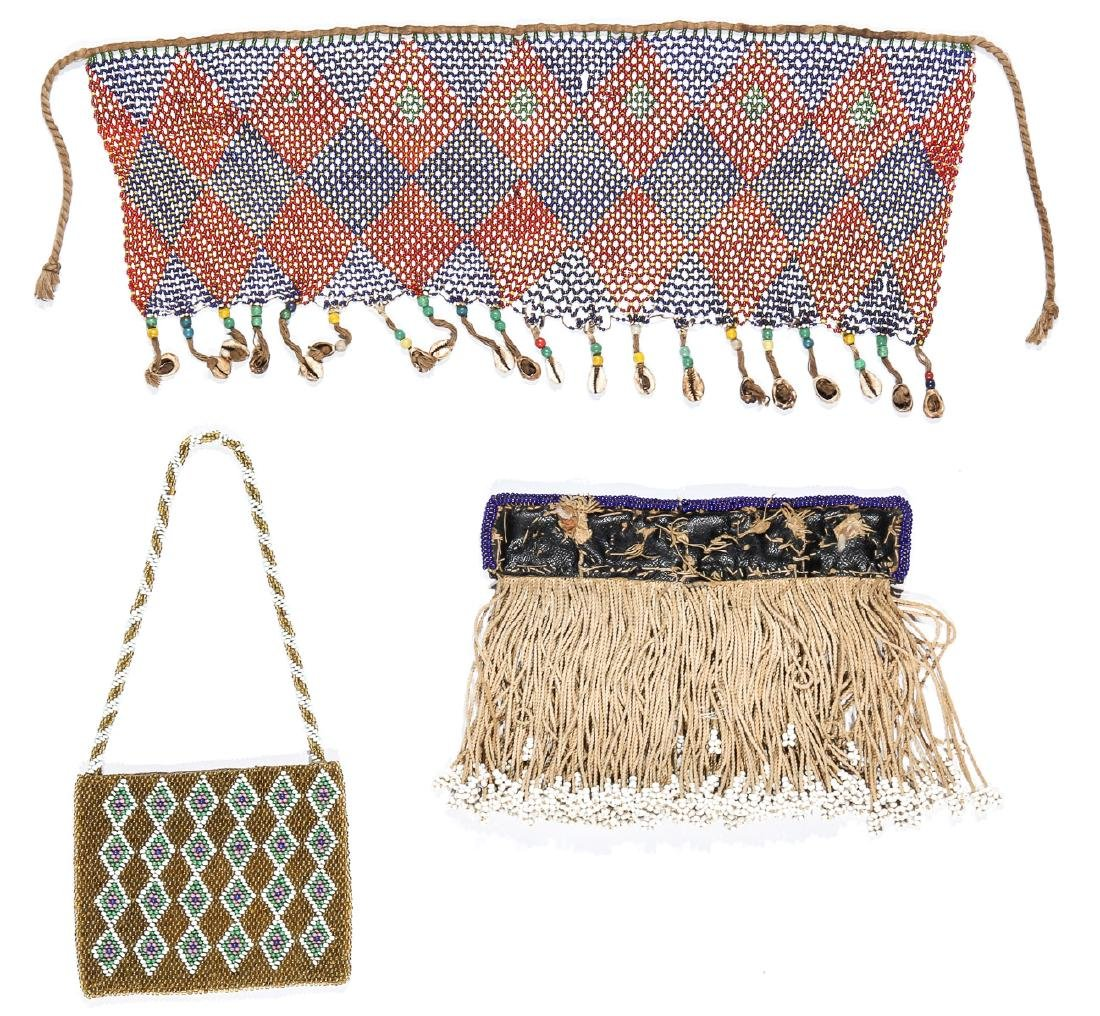 3 African Beaded Artifacts: 2 Cache Sexe & Purse - 5