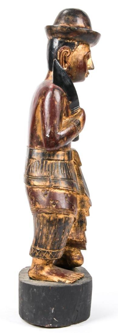 Vintage Southeast Asian Carved Wood Folk Art Figure - 3
