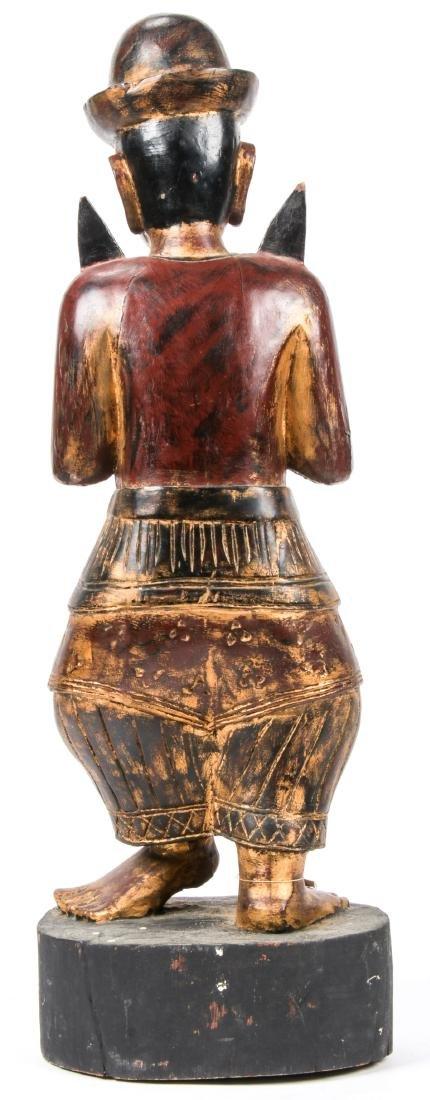Vintage Southeast Asian Carved Wood Folk Art Figure - 4