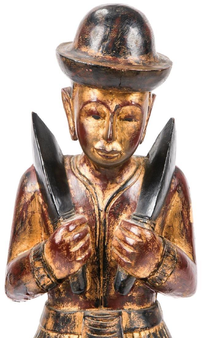 Vintage Southeast Asian Carved Wood Folk Art Figure - 6