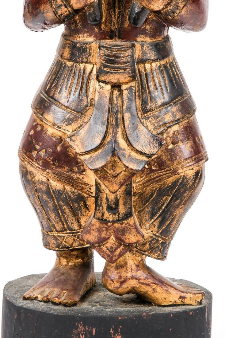 Vintage Southeast Asian Carved Wood Folk Art Figure - 7