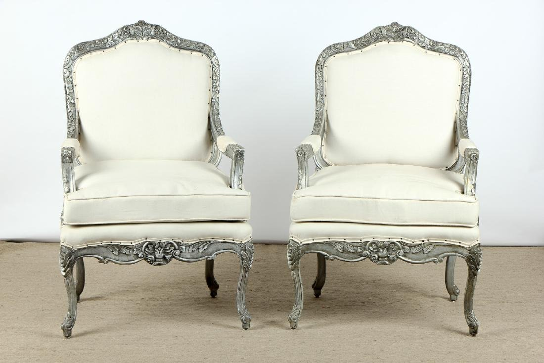 Pair of Modern Upholstered Bergere Chairs