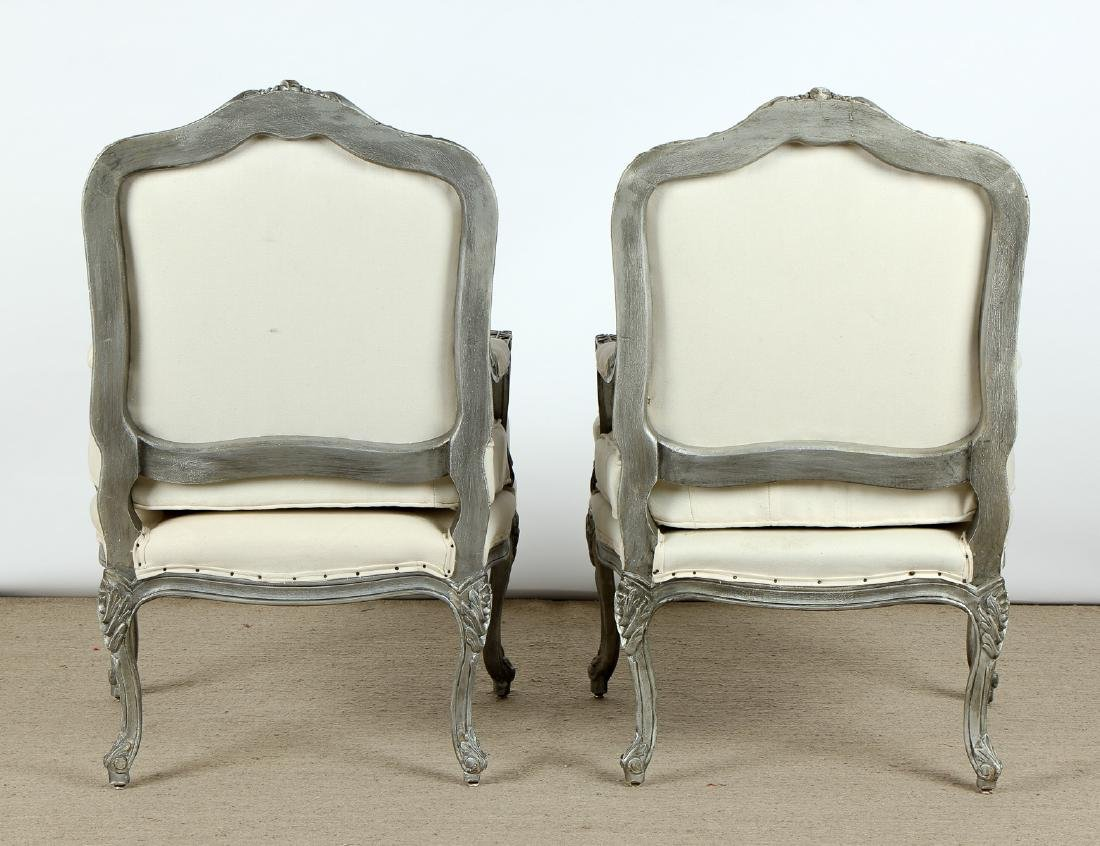 Pair of Modern Upholstered Bergere Chairs - 6
