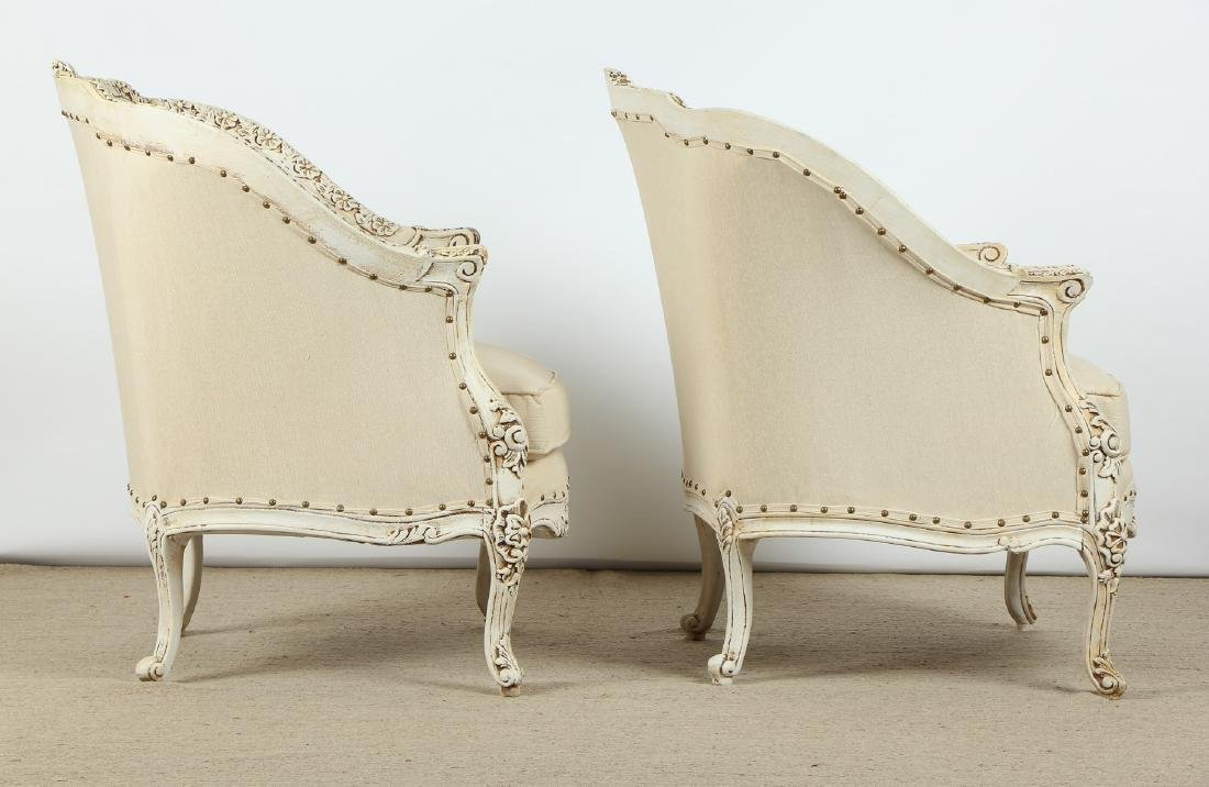 Pair of Modern Upholstered Bergere Chairs - 5