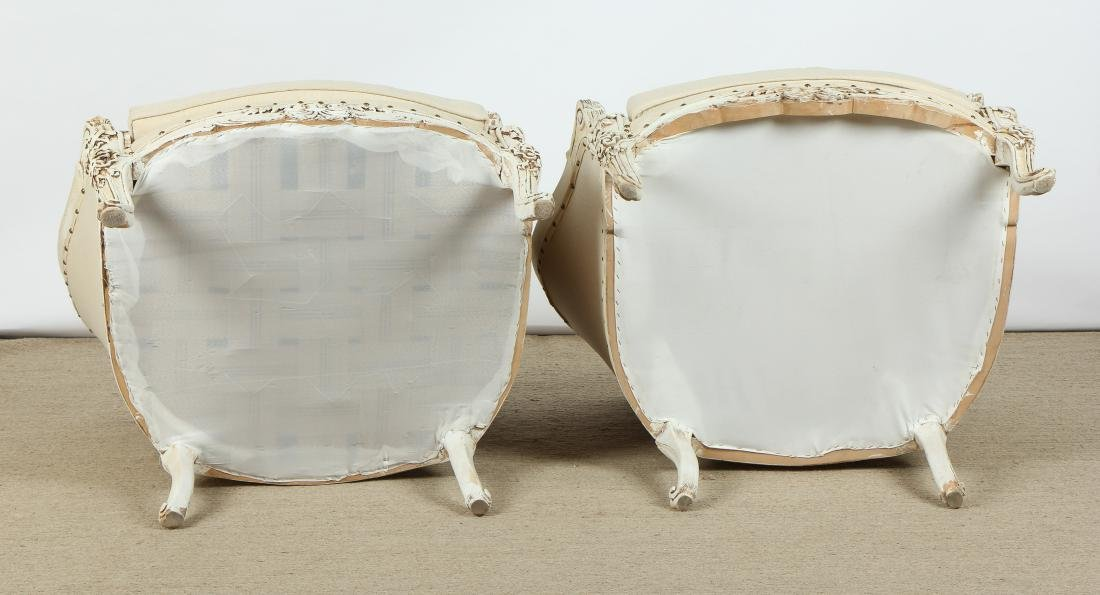 Pair of Modern Upholstered Bergere Chairs - 7
