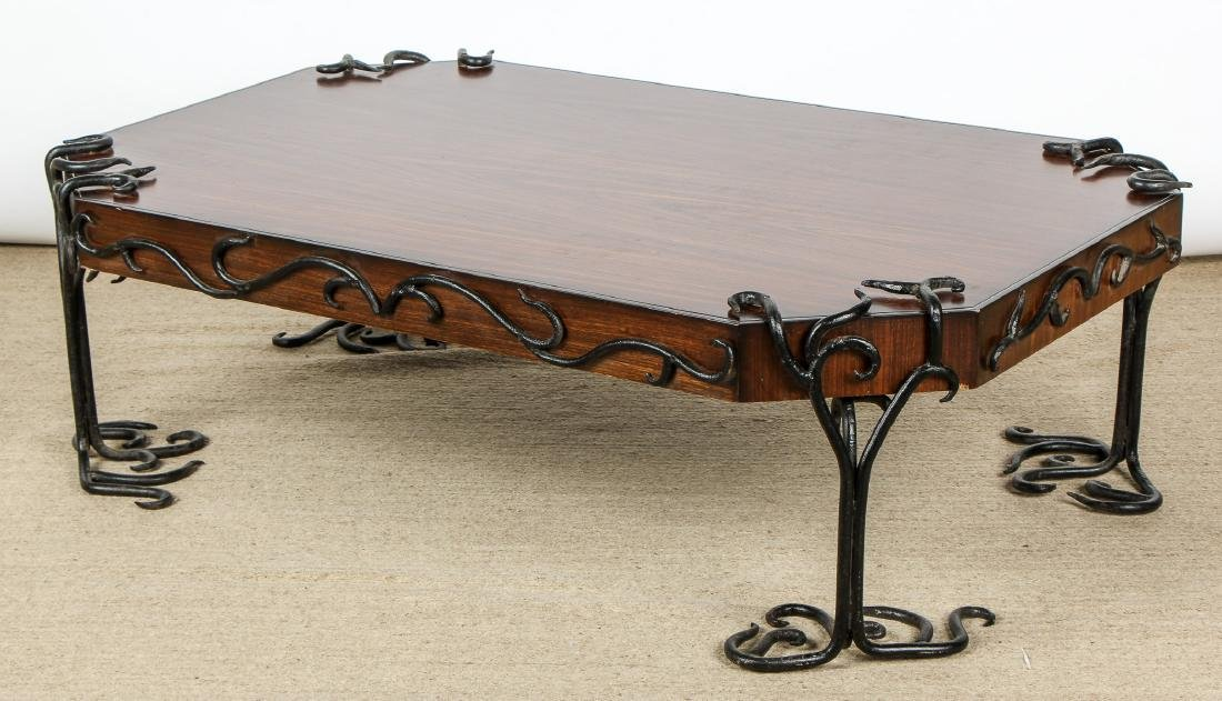 Modern Artisan Iron Decorated Wood Coffee Table