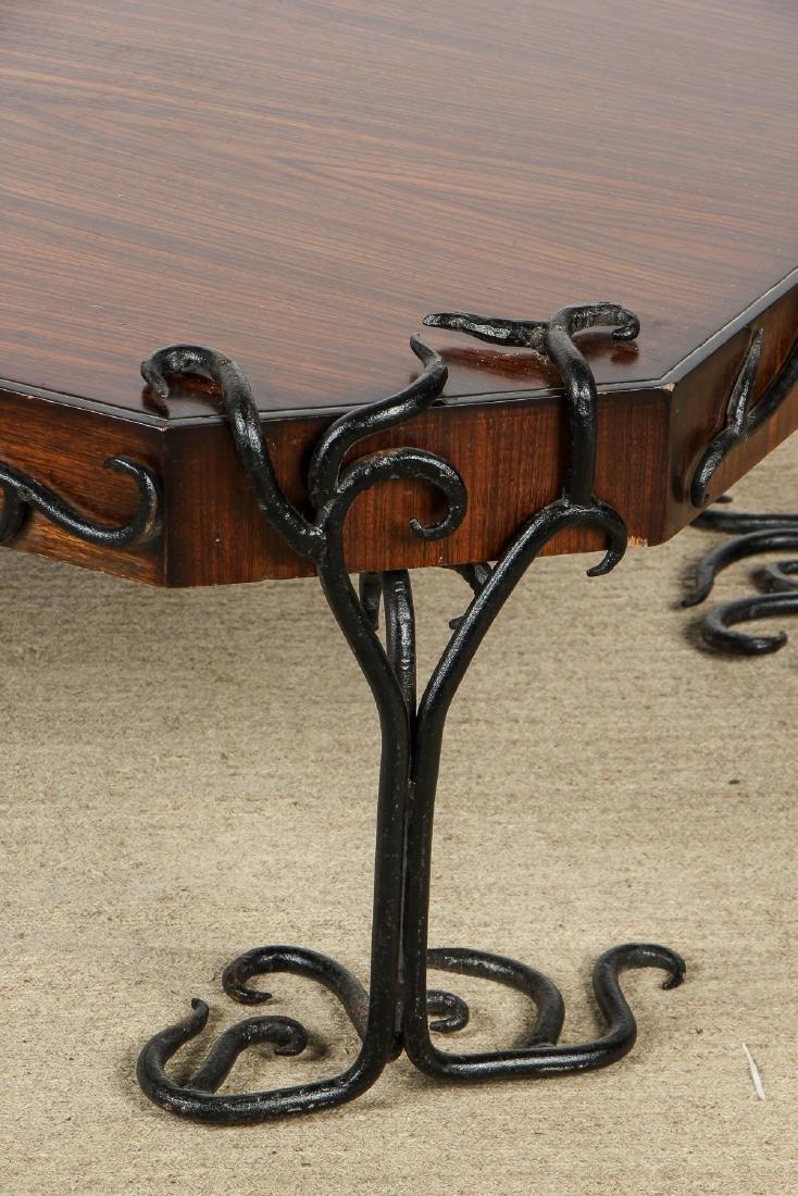 Modern Artisan Iron Decorated Wood Coffee Table - 2