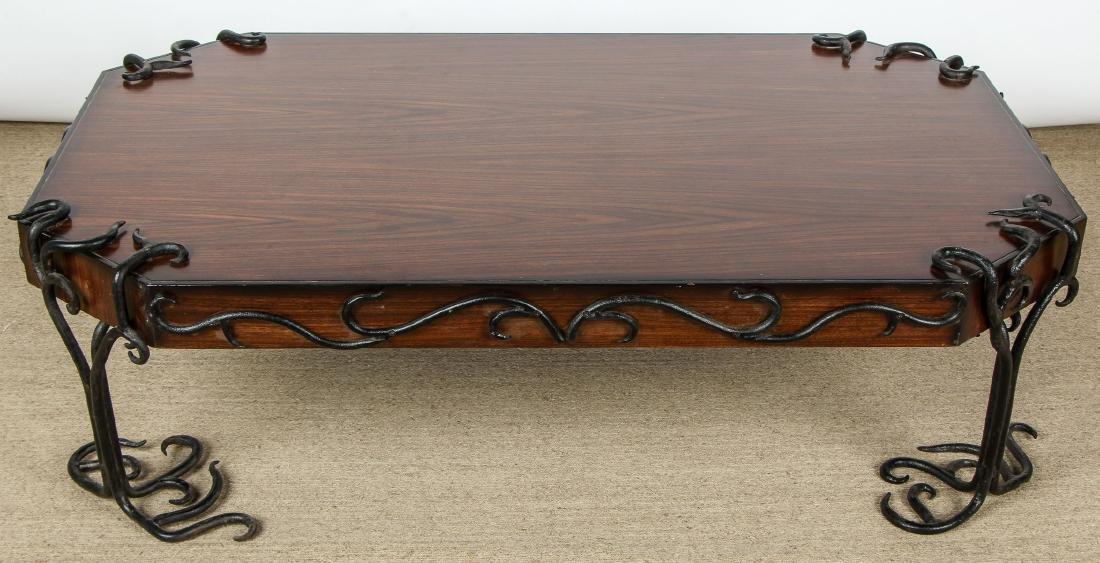Modern Artisan Iron Decorated Wood Coffee Table - 3