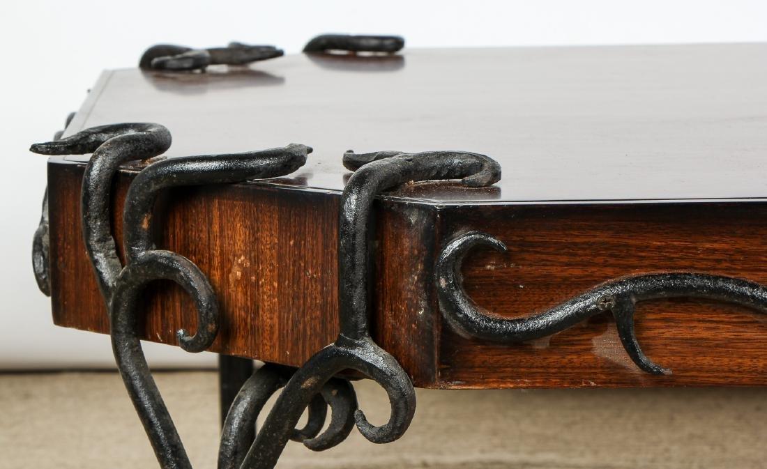 Modern Artisan Iron Decorated Wood Coffee Table - 4