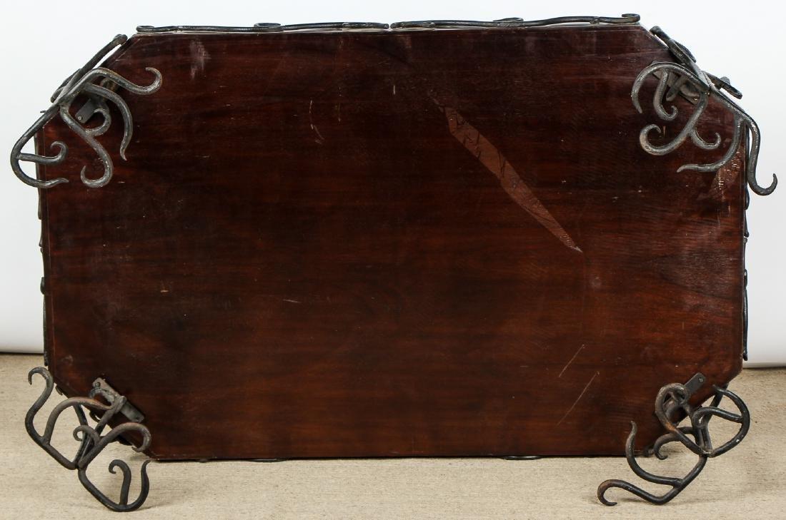 Modern Artisan Iron Decorated Wood Coffee Table - 5