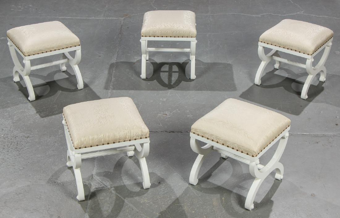 5 Modern Upholstered White Wood Foot Stools