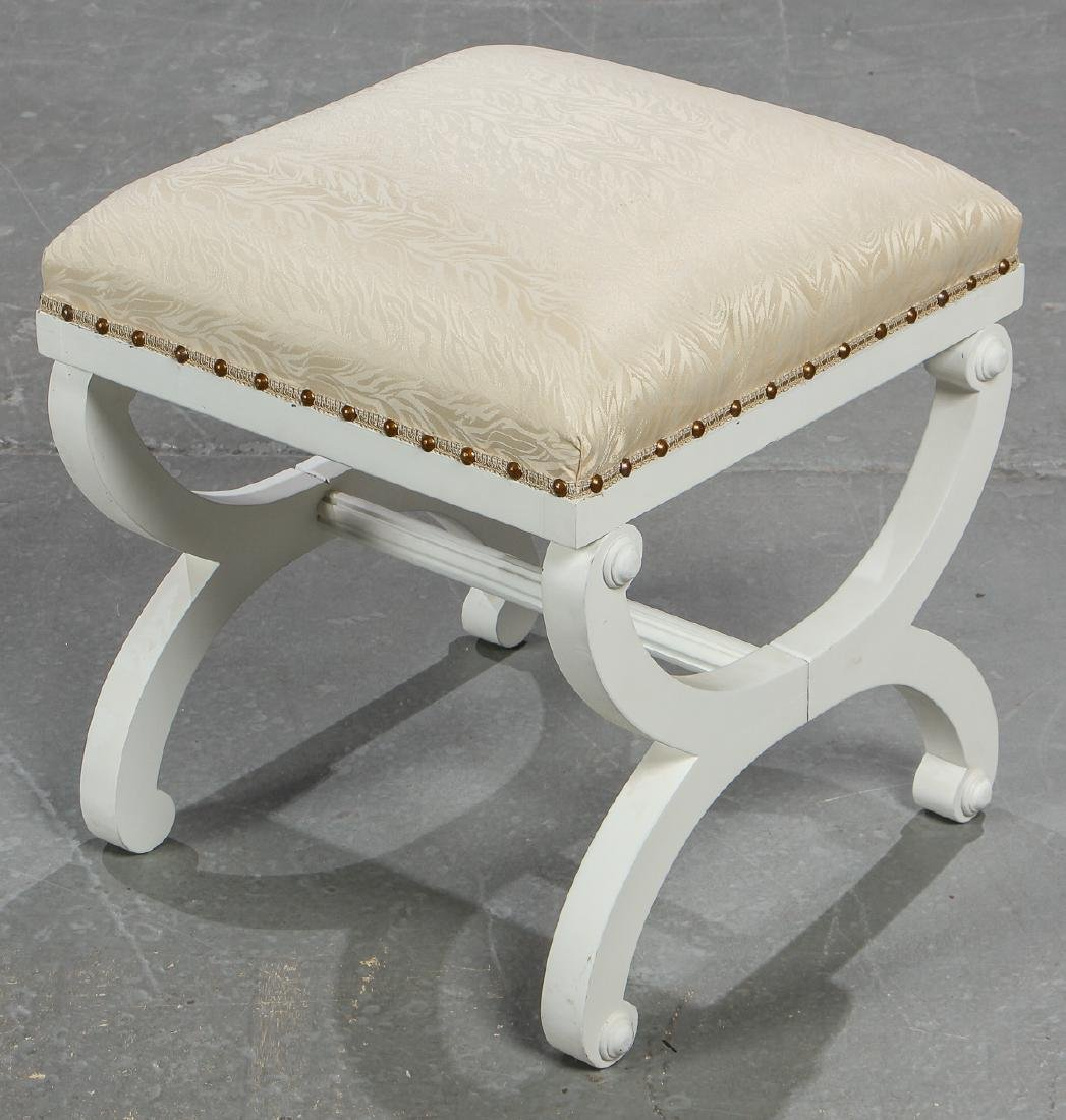 5 Modern Upholstered White Wood Foot Stools - 2