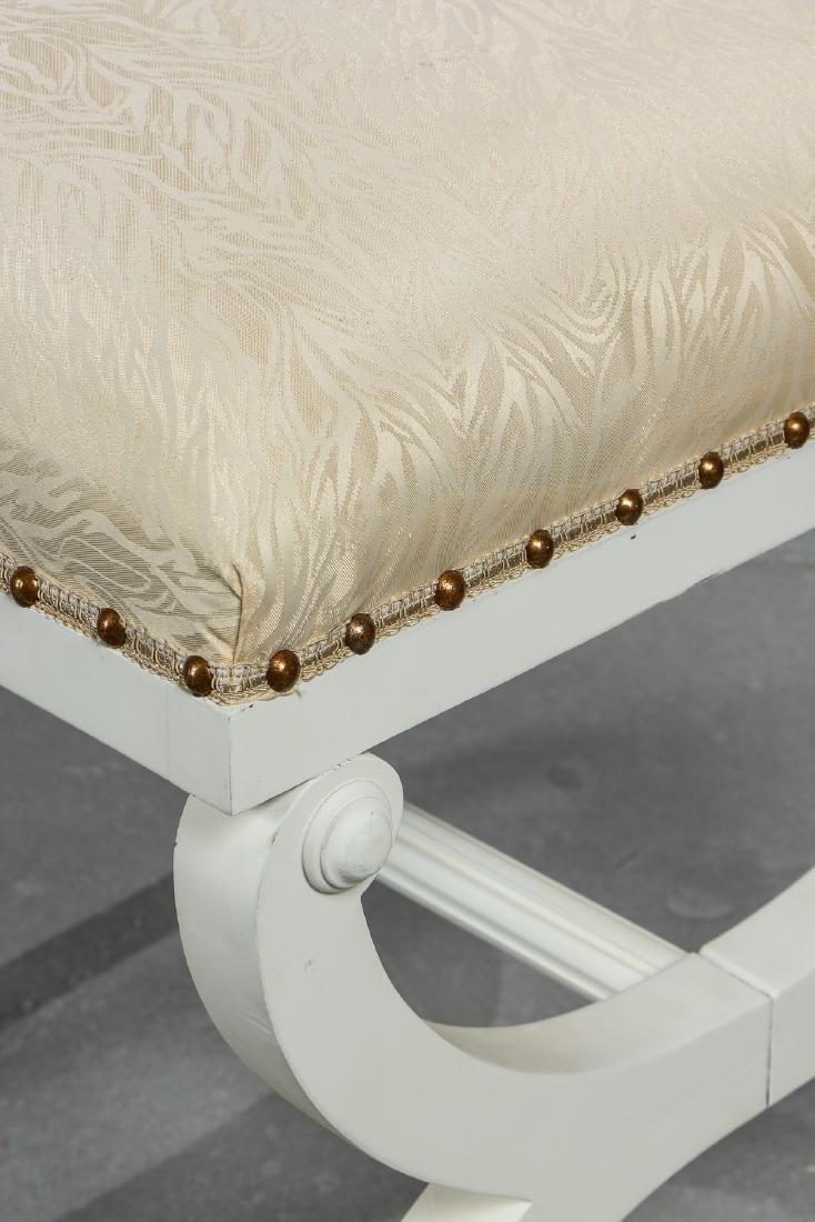 5 Modern Upholstered White Wood Foot Stools - 3