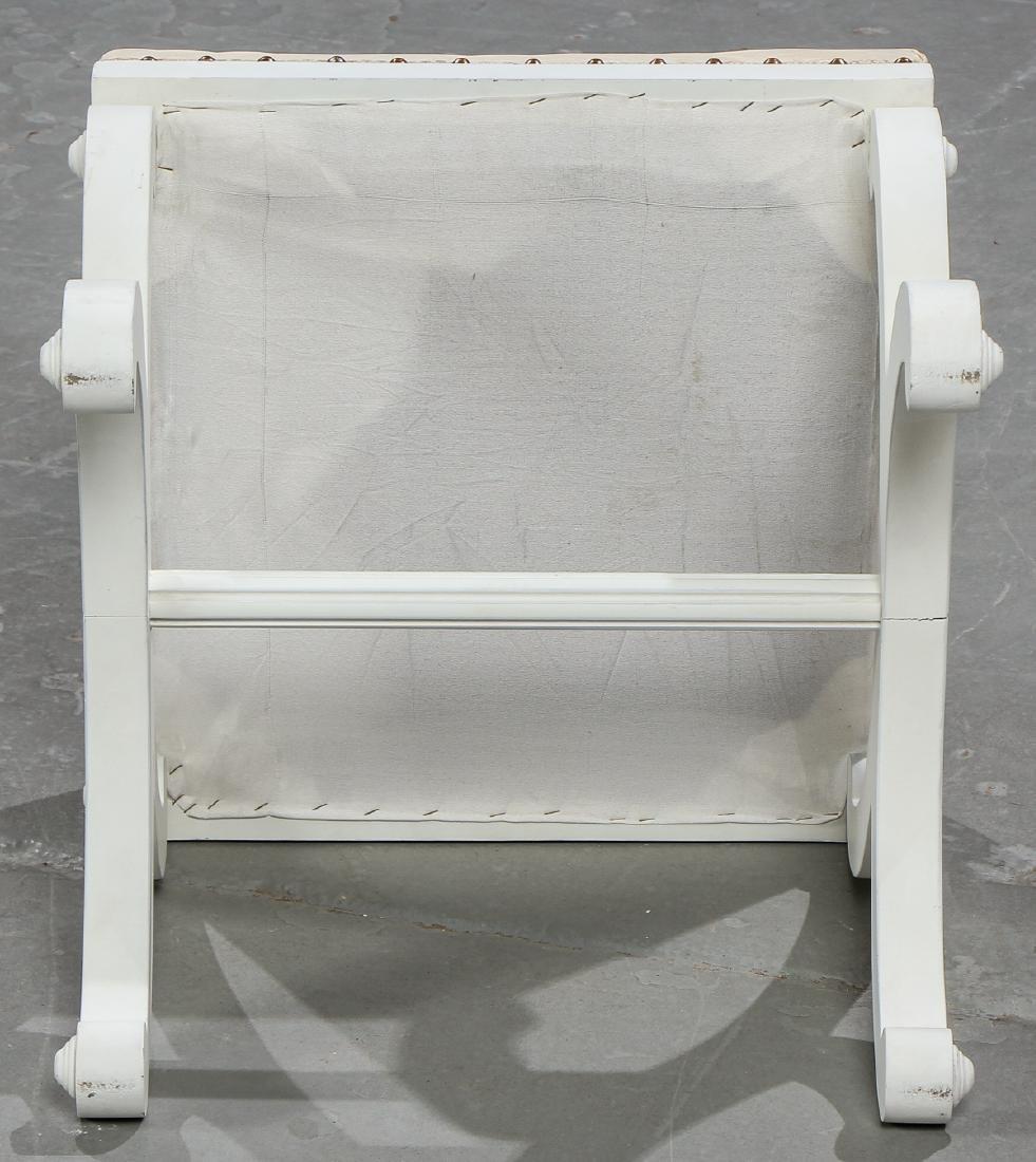 5 Modern Upholstered White Wood Foot Stools - 4