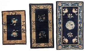 3 Antique Peking Small Rugs, China