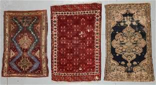 3 Antique Persian, Caucasian, Turkmen Rugs