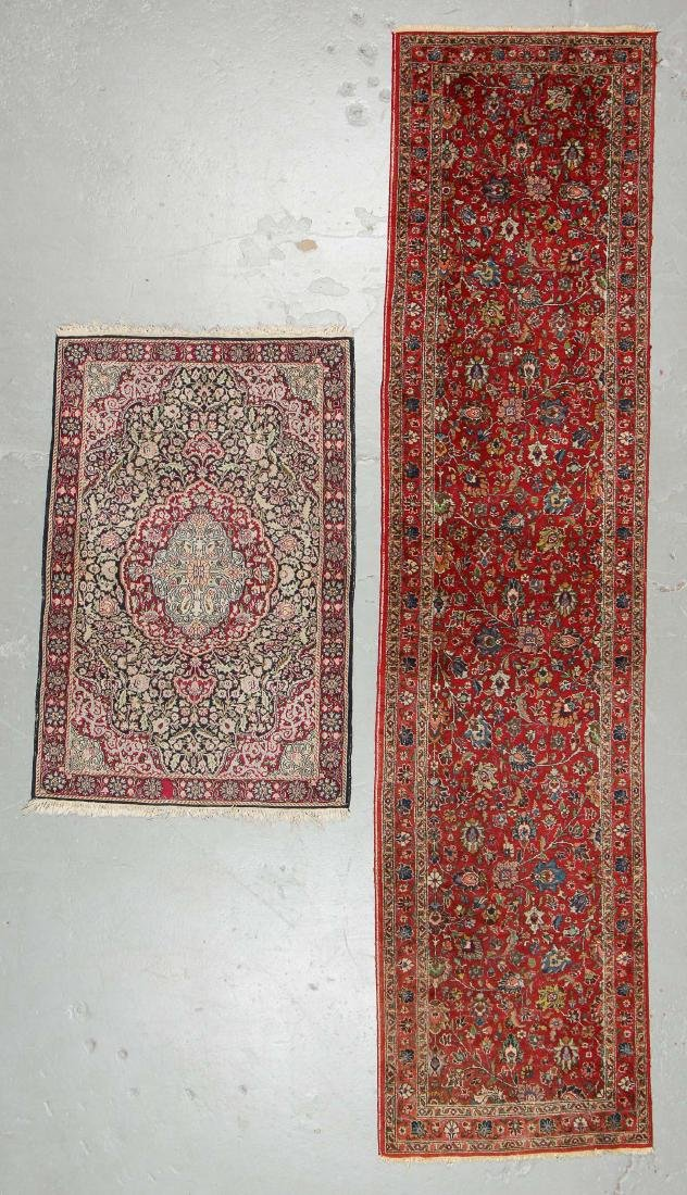 Semi-Antique Persian Runner & Vintage Indian Small Rug
