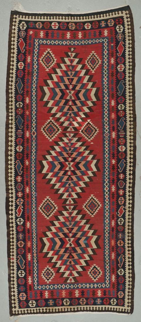 Antique Azeri Kilim, Caucasus: 4'11'' x 11'7''
