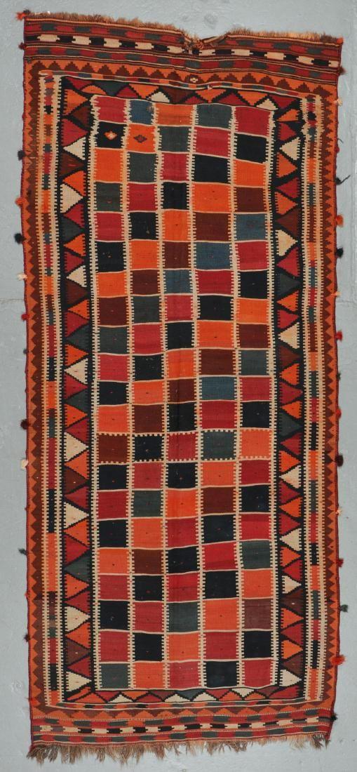 Semi-Antique Gashgai Kilim, Persia: 4'6'' x 10'5''