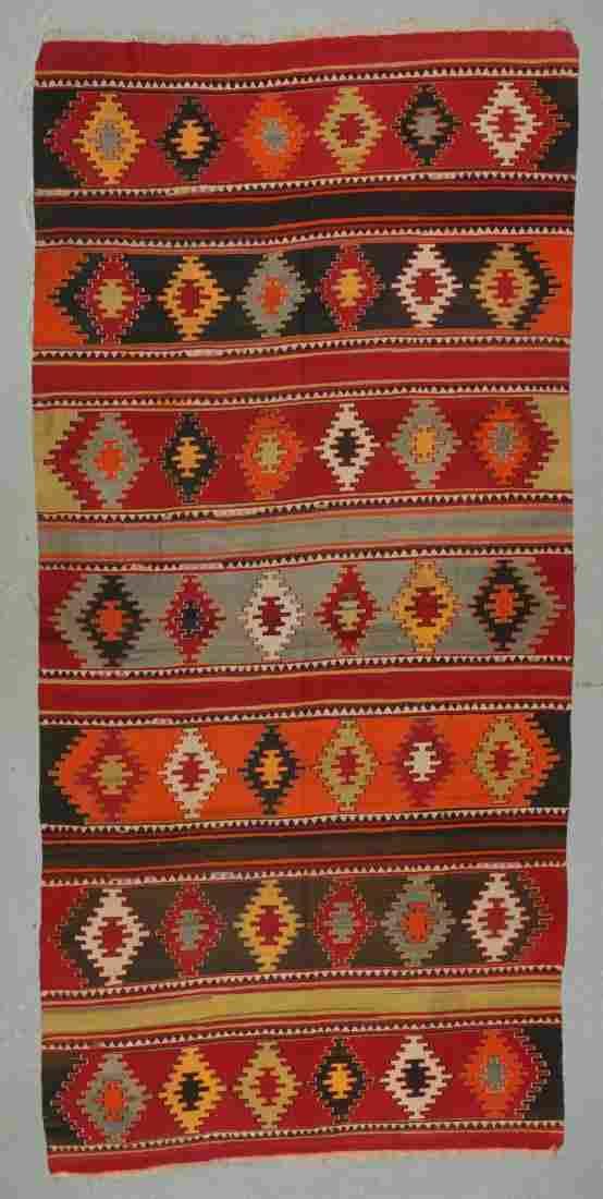 Antique Anatolian Kilim, Turkey: 6'3'' x 13'1''