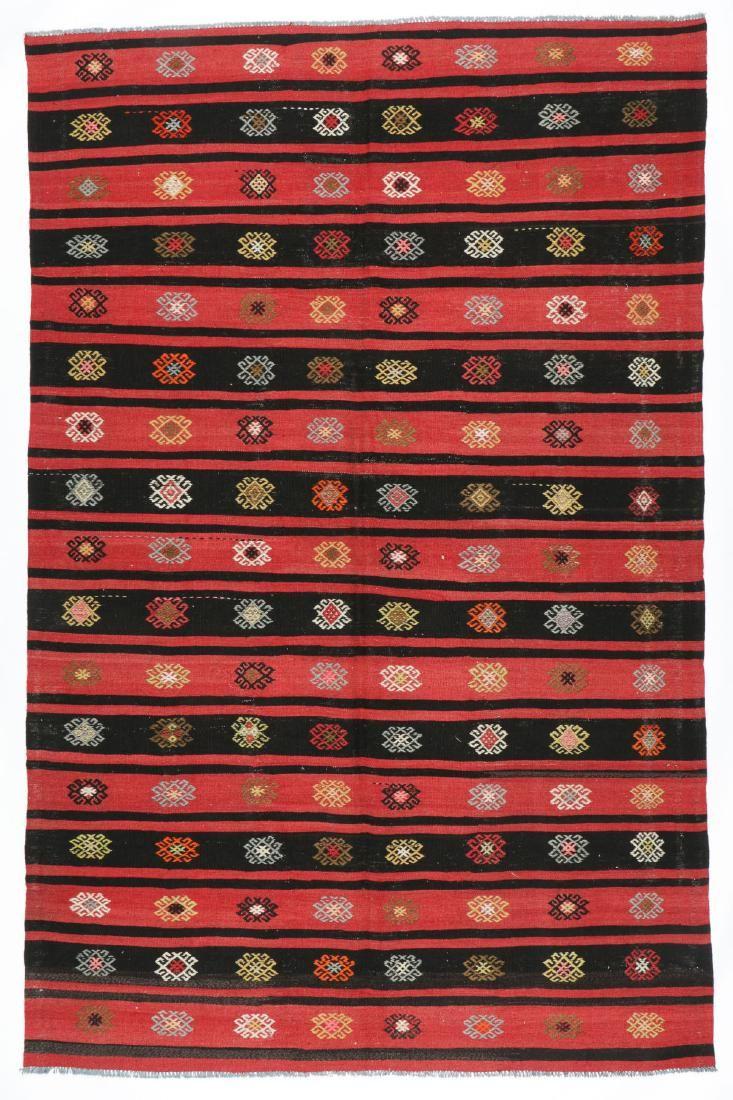 Semi-Antique Anatolian Kilim, Turkey: 6'9'' x 10'3''